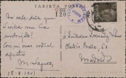 Tarjeta postal de Miquel Saperas a Guillermo Fernández-Shaw, enviándole un abrazo desde Sevilla.