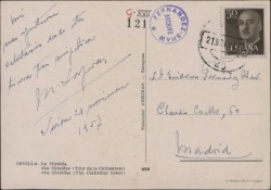 Tarjeta postal de Miquel Saperas a Guillermo Fernández-Shaw, enviándole un saludo desde Sevilla.