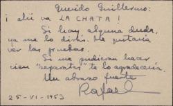 Tarjeta de visita de Rafael Duyos a Guillermo Fernández-Shaw, enviándole una de sus obras poéticas para ser publicada.