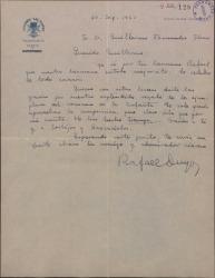 Carta de Rafael Duyos a Guillermo Fernández-Shaw, agradeciéndole el envío de los ejemplares de un romance suyo que han publicado.