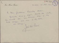 Carta de José María Pemán a Guillermo Fernández-Shaw, dándole el pésame por la muerte de su hermano.