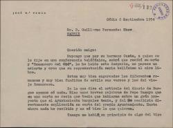 """Carta de José María Pemán a Guillermo Fernández-Shaw, elogiando una obra de éste, """"El romancero del Cid""""."""