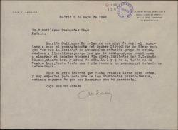 Carta de Luis Fernández Ardavín a Guillermo Fernández-Shaw convocándole a una reunión de autores teatrales promovida por Conrado Blanco.