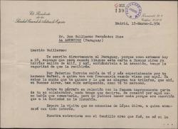 Carta de Luis Fernández Ardavín a Guillermo Fernández-Shaw durante la estancia de éste en América, dándole noticias de la Sociedad General de Autores de España.