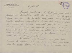 Carta de Pablo Cavestany a Guillermo Fernández-Shaw, proponiéndole colaborar en un proyecto teatral.