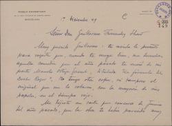 Carta de Pablo Cavestany a Guillermo Fernández-Shaw, pidiéndole el original de una comedia suya.