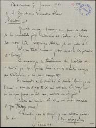 Carta de Miquel Saperas a Guillermo Fernández-Shaw, sobre varios detalles de su colaboración literaria.