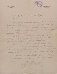 """Carta de Luis Fernández Ardavín a Guillermo Fernández-Shaw, agradeciendo su autorización para emplear el título """"La Parranda"""" para una zarzuela suya."""