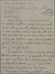 Carta de Miquel Saperas a Guillermo Fernández-Shaw, dándole noticias de su salud y anunciándole el envío de unos libros por mediación de un amigo.