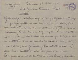 """Carta de Miquel Saperas a Guillermo Fernández-Shaw, felicitándole por sus éxitos, hablándole de la edición de """"Carlos de Viana""""."""