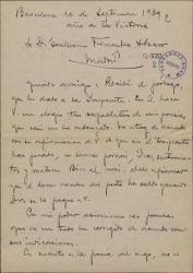 """Carta de Miquel Saperas a Guillermo Fernández-Shaw, agradeciéndole los elogios que de él hace en el prólogo de """"Piedad"""" y dándole algunas indicaciones sobre la versión que ha hecho de otras poesías suyas."""