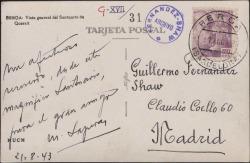 Tarjeta postal de Miquel Saperas a Guillermo Fernández-Shaw, enviándole recuerdos desde Berga.
