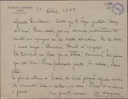 Carta de Miquel Saperas a Guillermo Fernández-Shaw, anunciándole la terminación de su nuevo libro.