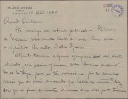 """Carta de Miquel Saperas a Guillermo Fernández-Shaw, enviándole un artículo publicado en la prensa sobre """"Carlos de Viana"""" y un librito con opiniones sobre su libro """"Breviario de Amor""""."""