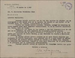 Carta de Miquel Saperas a Guillermo Fernández-Shaw, dándole noticias sobre temas personales.