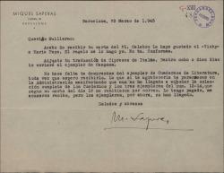 """Carta de Miquel Saperas a Guillermo Fernández-Shaw, anunciándole el envío de su libro """"Cançons"""" y encomendándole una gestión."""
