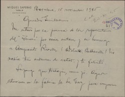Carta de Miquel Saperas a Guillermo Fernández-Shaw, felicitándole por su actuación como actor en una representación-homenaje a Amparo Rivelles.