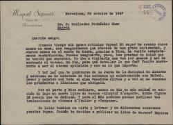 Carta de Miquel Saperas a Guillermo Fernández-Shaw, hablando de la enfermedad de su esposa y de sus proyectos literarios.