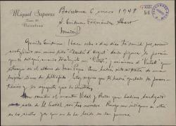Carta de Miquel Saperas a Guillermo Fernández-Shaw, anunciándole el envío de su último libro, hablando de otros proyectos literarios y preguntándole si es cierto que han puesto a una calle de El Escorial el nombre de éste.