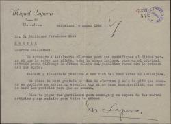 Carta de Miquel Saperas a Guillermo Fernández-Shaw, con ciertos detalles sobre la traducción de unas poesías suyas por éste.