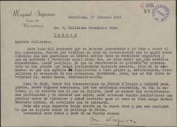 Carta de Miquel Saperas a Guillermo Fernández-Shaw, disculpándose por no haber ido a cenar con él durante su viaje a Madrid y comentando que él se encargará de hacer las correcciones en las traducciones de unos poemas tal como acordaron.