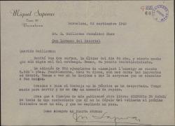 Carta de Miquel Saperas a Guillermo Fernández-Shaw, con diversas noticias sobre su trabajo comercial y literario.