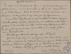"""Carta de Miquel Saperas a Guillermo Fernández-Shaw, anunciando el estreno de """"Carlos de Viana"""" en catalán en Barcelona."""