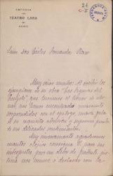 """Carta de los intérpretes de """"Las figuras del Quijote"""" a Carlos Fernández Shaw."""