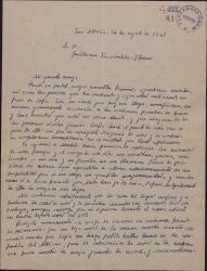 Carta de Enrique Ruiz de la Serna a Guillermo Fernández-Shaw, agradeciéndole sus gestiones a favor de su esposa.