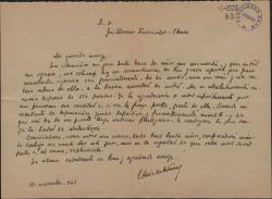 Carta de Enrique Ruiz de la Serna a Guillermo Fernández-Shaw, pidiéndole una cantidad de dinero para solucionar una perentoria necesidad económica.