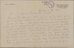 Carta de Luis Fernández Ardavín a Guillermo Fernández-Shaw, elogiando los libros traducidos por éste, de Miquel Saperas, que le ha enviado.