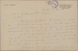 Carta de Luis Fernández Ardavín a Guillermo Fernández-Shaw, agradeciéndole la enhorabuena por el premio que le ha concedido la Real Academia Española.