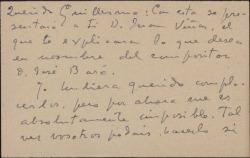 Tarjeta de visita de Luis Fernández Ardavín a Guillermo Fernández-Shaw, presentándole al dador de la misma que desea pedirle un favor.