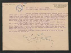 Carta de Luis Fernández Ardavín a Guillermo Fernández-Shaw, agradeciéndole el pésame por la muerte de su padre.