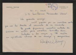 Carta de Rafael Duyos a Guillermo Fernández-Shaw, agradeciéndole una carta de condolencia.