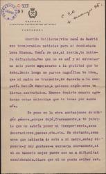 Carta de Napoleón Catarineu a Guillermo Fernández-Shaw, agradeciéndole el interés que se ha tomado por una obra teatral suya y sus consejos.