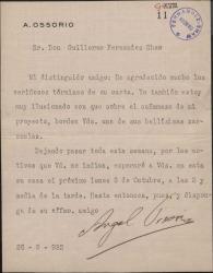 Carta de Antonio Ossorio a Guillermo Fernández-Shaw sobre un proyecto de colaboración literaria.