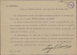 Carta de Antonio Ossorio a Guillermo Fernández-Shaw y Federico Romero dando por sentado que su obra no es apta para escenificarla y pidiéndoles que le devuelvan el original que les envió para su estudio.