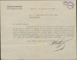 Carta de Ramón Artigas a Guillermo Fernández-Shaw, agradeciéndole su felicitación por una distinción de que le han hecho objeto.