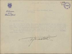 Carta de Antonio Goicoechea a Guillermo Fernández-Shaw, agradeciéndole su interés por él, con motivo de un accidente.