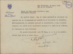 Carta de Antonio Goicoechea a Guillermo Fernández-Shaw, comentándole que el accidente que sufrió no tuvo consecuencias graves y agradeciéndole su interés.