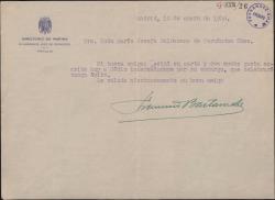 Carta de Francisco Bastarreche a María Josefa Baldasano, mujer de Guillermo Fernández-Shaw, interesándose por su encargo.