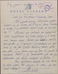 Carta de Miguel Teus, embajador español, a Guillermo Fernández-Shaw, pidiéndole le remita las cartas de los doctores a la embajada de Panamá.