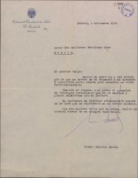 """Carta de Eduardo Aunós a Guillermo Fernández-Shaw, interesándose por su salud y agradeciéndole el ejemplar de """"Estampas Isabelinas"""" que le ha enviado."""