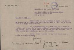 Carta de Juan de Leyva a Guillermo Fernández-Shaw, contestando una suya sobre el premio concedido a Carlos Manuel Fernández-Shaw Baldasano.