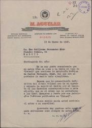 Carta de Manuel Aguilar, editor, a Guillermo Fernández-Shaw, comunicándole que se pone a la venta la antología poética de su padre, Carlos Fernández Shaw.