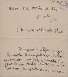 Carta de Andrés Guilmain a Guillermo Fernández-Shaw, pidiéndole una entrevista para hablar de una publicación teatral.