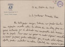 Carta de Andrés Guilmain a Guillermo Fernández-Shaw, sobre la edición de las obras de éste.