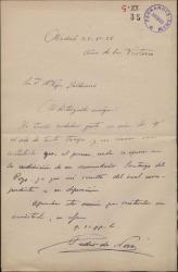 Carta de Pedro de Novo a María Josefa Baldasano, esposa de Guillermo Fernández-Shaw, contestando a una recomendación de ella.