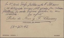 Tarjeta de visita de Pedro de Novo a María Josefa Baldasano, esposa de Guillermo Fernández-Shaw, agradeciéndole una felicitación.